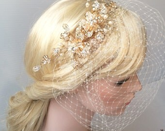 Wedding Birdcage Veil with GOLD rhinestone brooch V01G - ready to ship