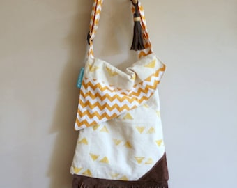 New! cross body bag, hand printed,triangles,leather,fringe,boho-chic, modern, triangle flap, cream,black,yellow,brown,vintage fabric
