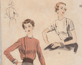 Vogue 7889 / Vintage 1950s Sewing Pattern / Blouse Shirt Top / Size 14 Bust 32