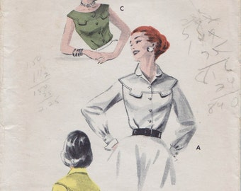 Butterick 7641 / Vintage 50s Sewing Pattern / Blouse Shirt Top / Size 12 Bust 30