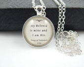 Songs of Solomon Bible Verse Cabochon Pendant Necklace - Handmade Religious - Religious Bible Verse Jewelry - Christian Jewelry