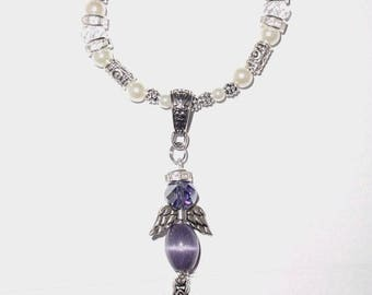 Wedding Bouquet Memorial Photo Charm Purple Awareness Heavenly Angel Crystals Gems Diamonds Pearls Silver Tibetan Beads - FREE SHIPPING