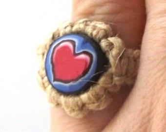 pink heart vintage 1990's hemp ring macrame jewelry fashion accessories modern womens teens polymer clay bead retro hippie boho love blue