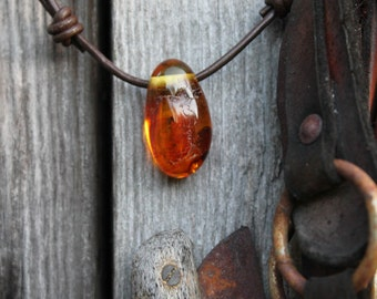 Baltic amber with Inclusion Insect Pendant Fossil Yellow Honey Necklace OOAK Fathers Day Gift Men Jewelry Unique Prehistoric Fly
