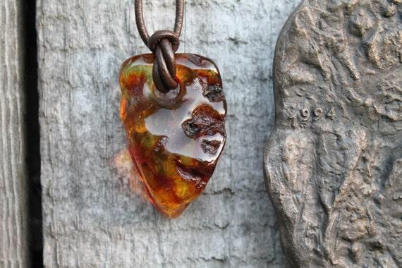 Raw Baltic Amber Man Necklace Pendant Charm Rough Stone Jewelry Honey Natural Butterscotch Unisex Zen OOAK Big