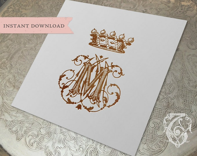 Vintage Crown Monogram M MM MMM Digital Download