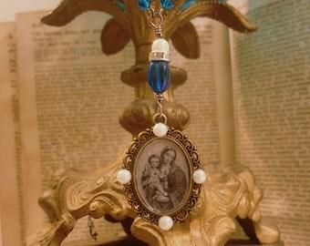 Antique Religious Virgin Mary Catholic Relic Assemblage Necklace Repurposed Antiques