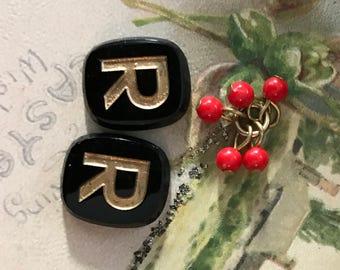 Letter R Cabochon, Vintage Initial R Cabochon, Antique Letter R, Jet Black Cabochon,Art Deco Cabochons, Glass Cabochons,Findings, N30H