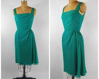 1950s Green silk Georgette Wiggle Dress / Lee Claire // Shelf bust side sweep asymmetrical