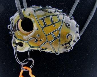 Handmade Borosilicate glass pendant with hanging heart