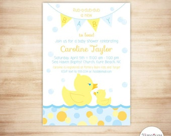 Rubber Duck Baby Shower Invitation - Baby Boy Shower - Rubber Ducky Baby Shower Invite - Neutral Baby Shower Theme - PRINTABLE, PERSONALIZED