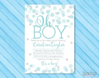 Blue and Silver Baby Shower Invitation - Blue and Silver Glitter Dots Baby Shower Invites - Boy Baby Shower - PRINTABLE INSTANT DOWNLOAD
