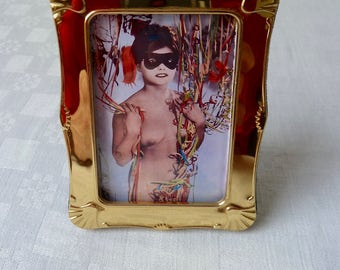 Vintage Framed Exotic Pin Up, Oriental Woman, Party Confetti Scene, Reproduction Erotic Vintage Photo in a Vintage Brass Frame