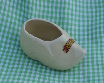 Vintage Souvenir of Washington, D.C., Yellow Dutch Shoe, teeny vase or planter