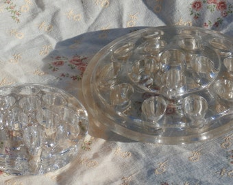 A Pair of Glass Flower Frogs, 11 Hole and  16 Hole, Older Vintage, Make Great Paperweights