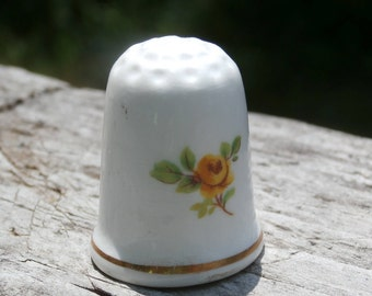 Vintage Yellow Rose Ceramic Thimble, Sweet Collectible, Shelf Decor, or Cupcake Topper
