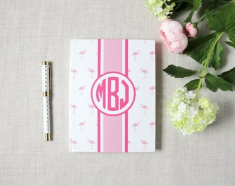 Mini Flamingo Pattern Monogram Hardback Journal | Flamingos for a Cure | Breast Cancer Awareness Gift | Personalize Custom | Gift for Her