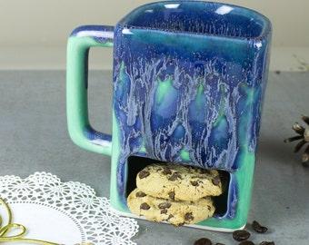 Ceramic Coffee mug, BlueRoomPottery Colorful Aqua Mint Green cookie and milk mug tea cup handmade pottery  cookie pocket mug, Kitchen gift