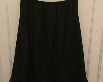 Vintage 1950s Movie Star Black Nylon Half Slip - Lace - size XLarge