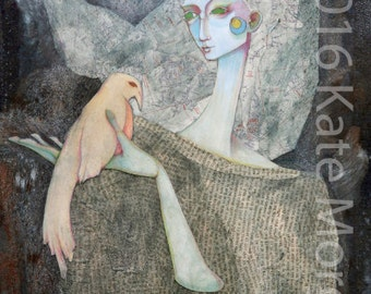 Large print mixed media girl with a bird