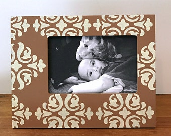 4X6 Painted Picture Frame, Modern Home Decor, Custom Picture Frames, Damask Frames, Neutral Home Decor, Frame Groupings, Family Photo Frames