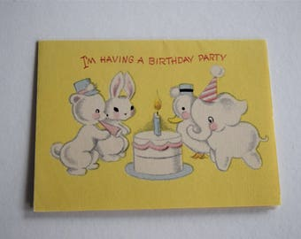 Vintage BIRTHDAY PARTY INVITATION Card Invite Cake Candle Bunny Rabbit Elephant Duck Bear Animal 1950s Children Child Forget Me Not Greeting