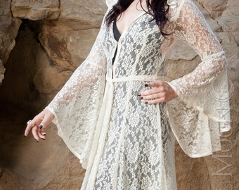 NEW Limited Edition: The Ivory Lace Bridal Priestess Cloak with Hood by Opal Moon Designs (Last Sizes M & XXL)