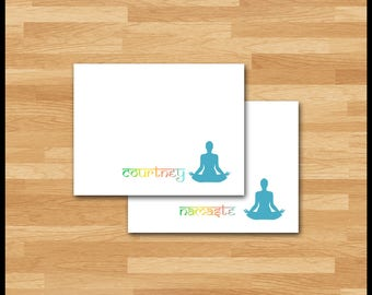 Yoga Stationery / 10 Note Cards / Woman Lotus Position / Shaded from Green to Turquoise / Namaste or Personalized / Om / Stationery Gift