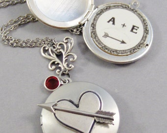 Loves Arrow,Add your Love Message to the inside of your Locket,Heart Necklace,Personalized Necklace,Arrow Necklace,Initials,Love