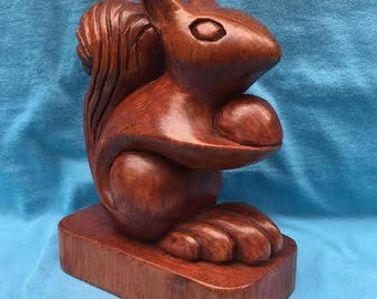 Stylized Squirrel Holding Acorn Wood Carving Hand Carved