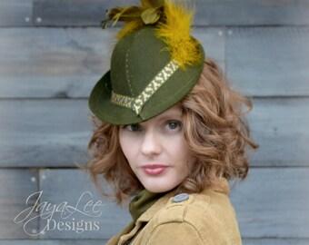 Olive Green Tilt Fedora Hat 1940's Fashion Style