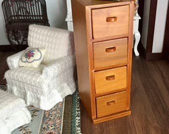 Miniature Filing Cabinet, Walnut, 4 Drawer Cabinet, Dollhouse Miniature, 1:12 Scale, Dollhouse Furniture, Office Decor, Mini Filing Cabinet