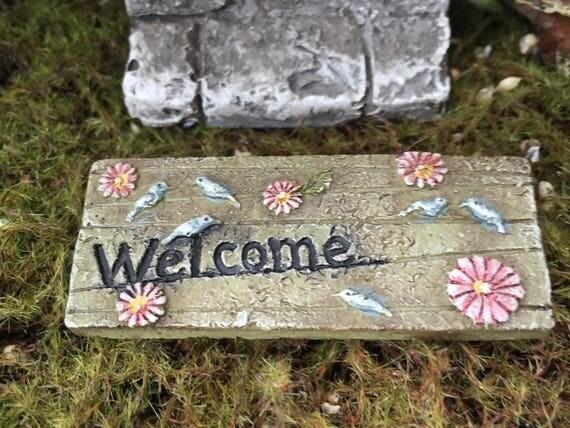 """Mini Door Mat, """"Welcome"""" Fairy Door Mat With Birds and Flowers, Fairy Garden Accessory, Miniature Garden Decoration, Resin Mat"""