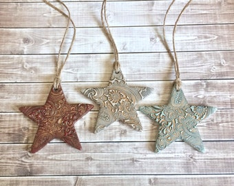 Country Paisley Polymer Clay Star Ornaments Rust Red, Antique White, Mint Green, Antiqued Bronze Rustic Christmas Holiday Decor Gift Set