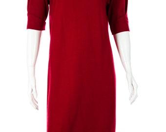 Ingeborg Vintage Wool Red Midi Dress, Size S