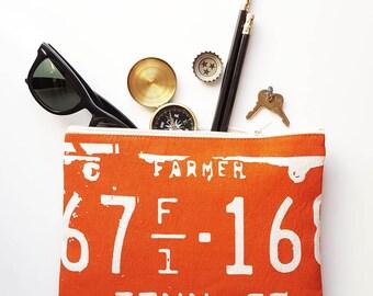 Tennessee Zipper Pouch Zip Clutch Purse Orange Farmer Mother's Day Wedding Accessories Made in Nashville Wholesale