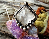 Sorcerer Ring - Quartz Pyramid Crystal Sterling Silver Handcrafted Ring - Size 8 - Boho - Bohemian - Witchy - New Age