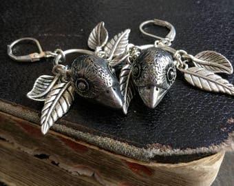 Bird Head earrings, ear weights Approx 11g each