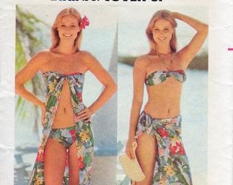 1970s Bikini and Coverup Pattern - Vintage Butterick 5438 - Size Medium Bust 34 36