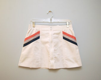 Vintage 1980's Tennis Zip Front Skirt White with Pink and Teal Stripes Size 11.5 Slazenger With Exposed Zipper Mini Skirt Retro Athletic