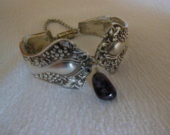 Amethyst and Grapes    Antique Fork Bracelet   7.5 inch