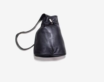 Vintage Leather Backpack / Black Leather Backpack / Leather Bucket Bag / Sling Backpack / Leather Knapsack