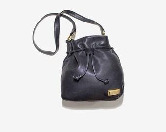 Vintage Leather Bucket Bag / Black Bucket Bag / Drawstring Purse / Leather Drawstring Bag