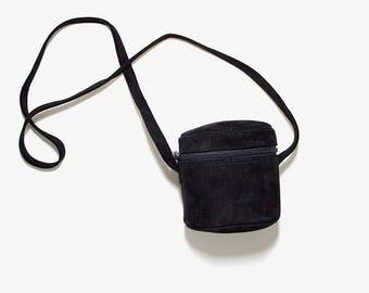 FLASH SALE Vintage Mini Leather Bag / Round Leather Purse / Suede Leather Bag / Mini Leather Purse / Black Suede Bag / Crossbody Purse