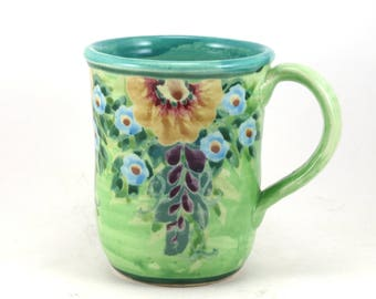 Green Pottery Mug - Handpainted Floral One of a Kind Tea Cup - Flower Design - Perfect for Coffee