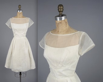 1950s simplistic illusion dress • vintage 50s dress • white wedding dress