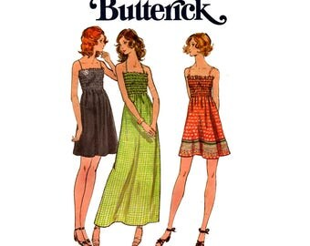 70s Butterick 6627 Shirred Bodice Dress or Maxi Vintage Sewing Pattern Summer Festival Fashion Size 10 Bust 32 1/2 Inches