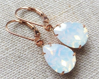 Opal Rose Gold Earrings, Swarovski White Opal 14K Rose Gold Filled Leverbacks, Leverback Earrings, Rhinestone Crystals, Bridesmaid Gifts