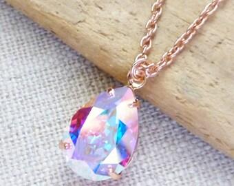 Aurora Borealis Rose Gold Swarovski Crystal Necklace, Rhinestone AB Teardrop Pendant, Bridesmaid Gifts, Bridal Jewelry, Gift for Her