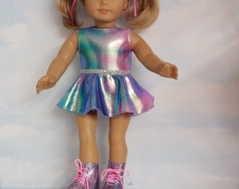 18 inch doll clothes - #830 Rainbow Roller Skating Outfit handmade to fit the American girl doll - FREE SHIPPING